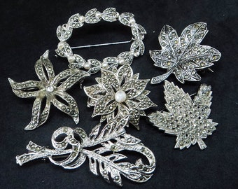 6x Vintage Marcasite Brooches... c.1950s-60s Flower Leaf... For Repair Repurpose