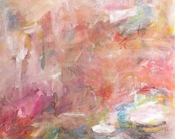 pink abstract expressionist original art - Rose Garden 16 x 16