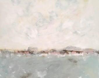 Coastal blue abstract original seascape painting  - Heart's Desire 36 x 48