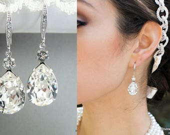 Crystal Swarovski Earrings Bridal Rhinestone Earrings teardrop earrings Statement Bridal Earrings Swarovski Crystal wedding Earrings  ARIA