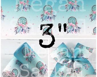 "3yd- 3"" Ribbon, Cheer Bow Ribbon, Dreamcatcher Ribbon, Aqua Blue Ombre Dream Catcher Ribbon"