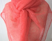 Coral Red Linen Shawl  Scarf Knit Natural Summer Wrap  Women Accessory