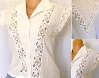 Bohemian French 1970s cotton gauze & lace blouse sz M