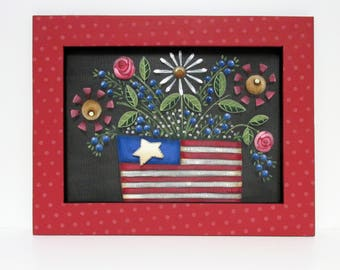 Red Framed Folk Art Flowers, American Basket, Patriotic Flowers, American Flowers, Framed in Reclaimed Wood, Red,White and Blue,Tole Painted