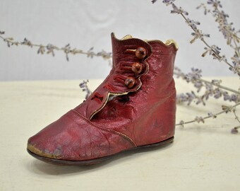 Children's High Button Shoe - toddler boot - Child's Red Leather Shoe