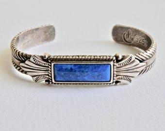 Sterling Silver Cuff Bracelet Blue Lapis Vintage Artisan Jewelry Signed By Artist Southwest Style Vintage Man Mens Jewelry Mens Bracelet