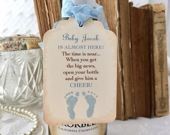 Boy Champagne Baby Tags Baby Mini Wine Bottle Baby Shower Favor Tags Set of 10 Baby Champagne Labels Cheers
