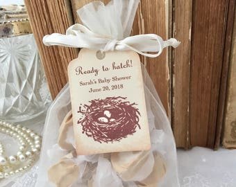 Baby Shower Favor Set Organza Bags, Personalized Tags, Bird Nest Eggs Set of 10