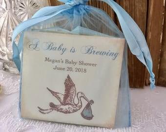 Baby Boy Favors Blue Stork Baby Shower Tea Party Favors Set of 10