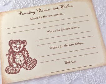 Teddy Bear Parenting Advice Cards Baby Shower Activity Game Cards Baby Wishes Set of 10