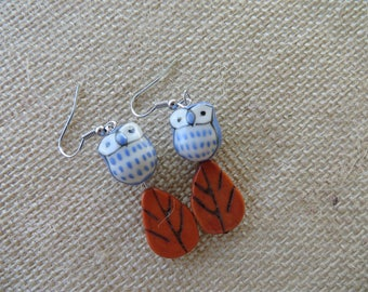 Blue Ceramic Owls And Orange Leaves Earrings