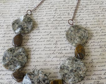 Wavy Speckled Jasper Tigers Eye And Copper Toned Chain Beaded Necklace