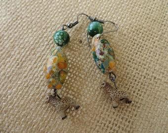 Giraffe Mosaic Magnesite And Agate Beaded Dangle Earrings
