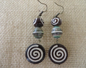 Dangling Earrings With Spiral Bone Beads And Ugandan Paper Beads