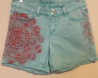 GiGiBunni Upcycled JEAN shorts , Teal and hand printed