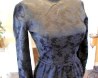 ON SALE NOW 60s Lanz Pencil Dress / 1962 Lanz Original Dress / Black Jacquard Dress  Size 2 S