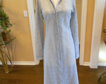 ON SALE NOW 70s Howard Hirsh Lace Dress /1970s Baby Blue Lace Dress / Vintage Lace Dress / Size 8 10