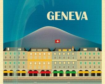 Geneva Skyline Print, Geneva Switzerland art, Geneva Print, Geneva Baby Art, Geneva Art, Geneva Print, Jet d'Eau fountain art style E8-O-GEN