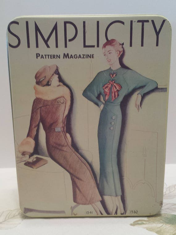 Vintage Simplicity Pattern Magazine Cover Tin - Collectible Tin Container - Pattern Storage Tin - 1988 - Tin Box Co
