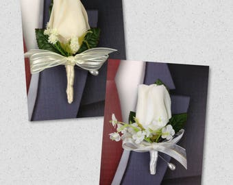 New Artificial Ivory or White Rose Bud Boutonniere, Ivory Bout, White Buttonhole, White Boutonniere, Ivory Boutonniere
