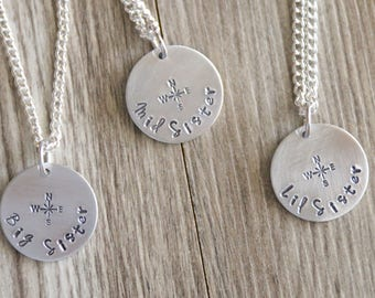 3 Sisters Necklaces, Compass Necklaces Set, Set of Sister Gift, Big Sister, Mid Sister, Lil Sister Gift, Long Distance Sister Gift