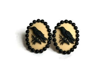 Yellow and Black Crow Cameo Earrings - Vintage Style - Bird, Raven - Pinup, Retro, Vintage Style - Nickel Free - Handmade in USA
