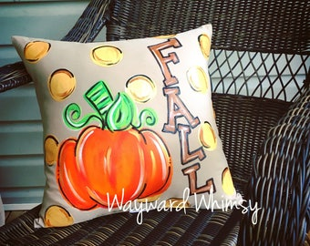 """Hand painted Decorative Pillow 16"""""""