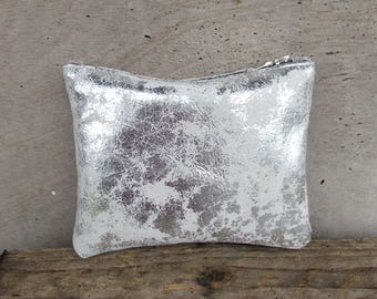 Distressed silver clutch, small silver clutch.