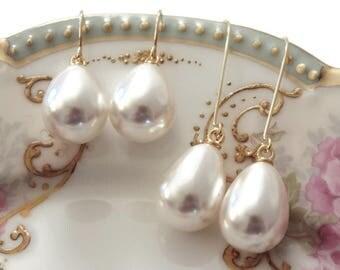Pearl bridesmaid earrings Pearl drop earrings Pearl teardrop earrings Pearl earrings Pearl dangle earrings Pearl bridesmaid jewelry Bridal