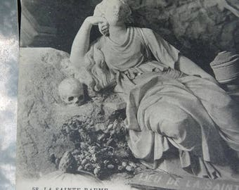 Antique French Mary Magdalene Souvenir Card, La Sainte-Baume, Grotto of Mary Magdalena, offered by RusticGypsyCreations