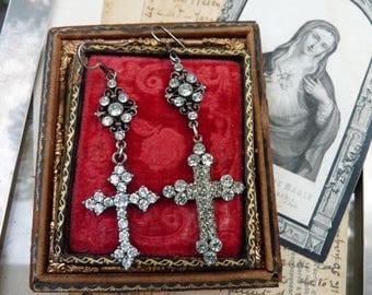 Antique Paste Cross Crucifix Earrings, Goddess Cross Talismans, by RusticGypsyCreations