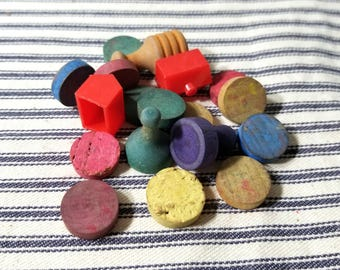 Vintage Assorted Wooden Game Tokens Classic Game Ephemera Pieces for Art and Crafting