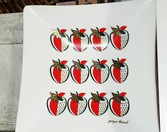 """Yearly Big Sale: Vintage Georges Briard Signed MCM Glass Plate, Large 9.5"""" Square Strawberry Dish, Pineapple Ambrosia Collection"""