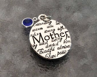 """1 - """"Mother"""" Stamped Word Pendant, Mother Love necklace, devoted, beautiful, strong, bangle charm,  Family jewelry"""
