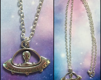 I Want To Believe Alien UFO Silver Necklace X-Files