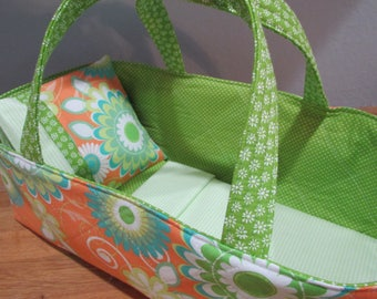 Doll Carrier, Orange and Green Flowers, Green  Lining, 14 Inches Long, Doll basket