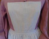 Reserved for Karen L- exchange Handmade white with blue plaid lightweight linen pinner apron, pockets