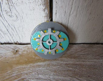 Gray Yellow Aqua Silver Wheel Magnet Steampunk Nautical Beach Style Wood with Polka Dots and Dashes on Sides Ready to Ship M-5