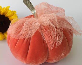 Velvet Pumpkin - soft Pink Orange - fantasy pumpkin - centerpiece