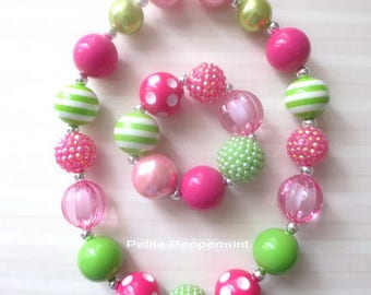 Hot Pink Green Pink Baby necklace,toddler chunky necklace, girl necklace set,toddler necklace, girl bracelet,Necklace for Girls