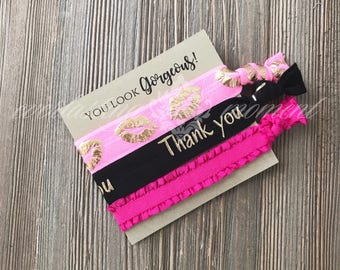 LipSense Thank you gift, gold lips,  lipsense party favor, lip hair tie favor, lips elastic hair ties, hot pink and black