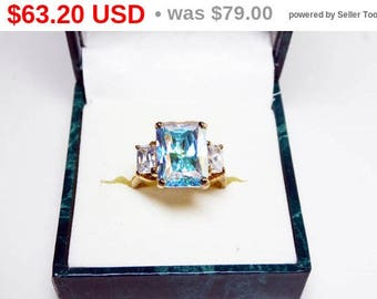 Spring Fling Sale Suzanne Sommers Ring - Trilliant Cut Rectangle Shaped Aurora Borealis CZ Signed 925 - Sterling Silver w/ Gold Overlay -...