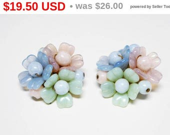 Pastel Flower Clip on Earrings - Molded Glass Flowers - Pastel Pink Blue & Green Pearlescent Beads - Vintage Signed W Germany European