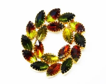 Vintage Rhinestone Wreath Brooch - Fall Tones Circle Pin - Olivine & Citrine Green Rhinestones - Yellow and Orange Marquis - Vintage 1960s
