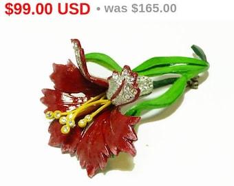 Summer Sizzler Sale 1930's Red Flower Brooch - Enamel and Rhinestone Vintage Floral Pin - Vintage Jewelery