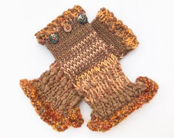 Caramel Brown Fingerless Mittens - Caramel Frilly Fingers - Brown Fingerless Glove Warm ladies Handwarmers Fingerless Mittens Toffee Colour