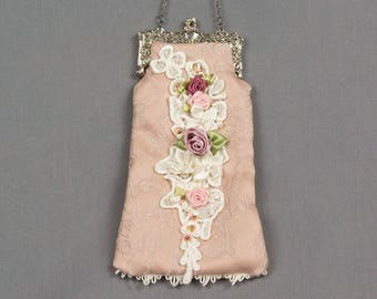 Beaded Evening Bag Pink damask fabric Silver hardware Lace flowers Ribbon roses / leaves Small evening purse Victorian evening bag