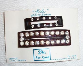 Vintage Lovely Tilco Holdette Barrette Set of 2 on Original Card Rhinestones Mint Condition Never Used