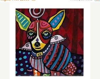 45% Off Today- Chihuahua Art Tile Ceramic Coaster Print of painting by Heather Galler dog Gift