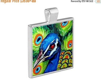 55% Off Today- Peacock Flowers Folk Art Jewelry - Pendant Metal  Gift Art Heather Galler Gift-  Purple Blue Green Black and WHite Harlequin
